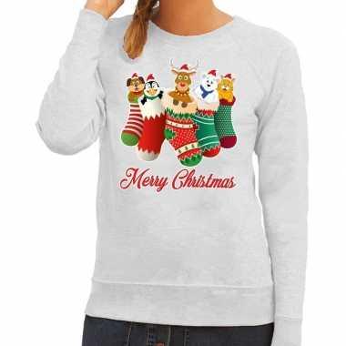 Foute foute kersttrui kerstsokken merry christmas grijs voor dames