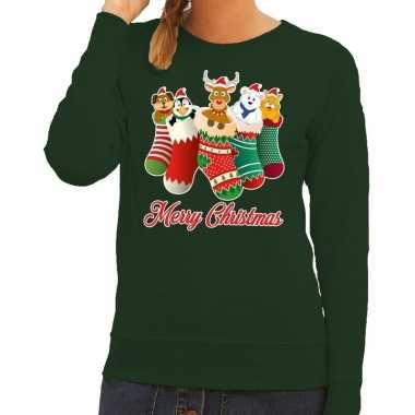 Foute foute kersttrui kerstsokken merry christmas groen voor dames
