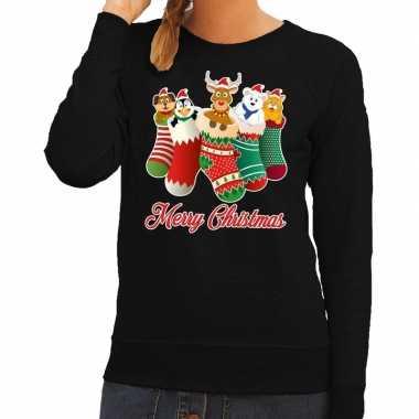 Foute foute kersttrui kerstsokken merry christmas zwart voor dames