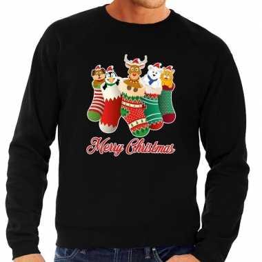 Foute foute kersttrui kerstsokken merry christmas zwart voor heren