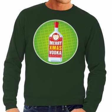 Foute foute kersttrui merry christmas vodka groen heren