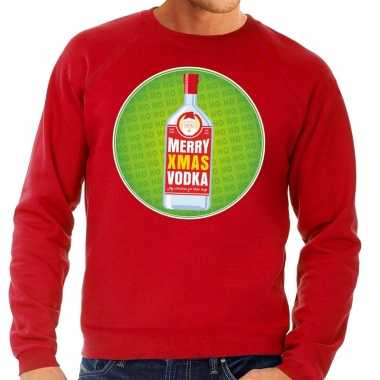 Foute foute kersttrui merry christmas vodka rood heren