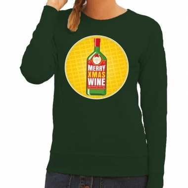 Foute foute kersttrui merry christmas wine groen dames