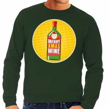 Foute foute kersttrui merry christmas wine groen heren
