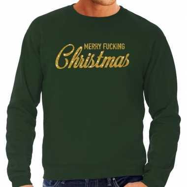 Foute foute kersttrui merry fucking christmas goud glitter groen heren