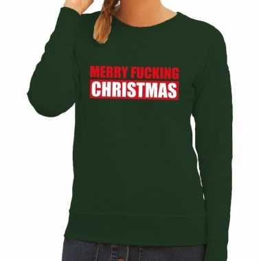 Foute foute kersttrui merry fucking christmas groen voor dames