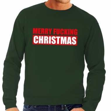 Foute foute kersttrui merry fucking christmas groen voor heren
