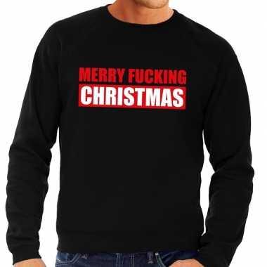 Foute foute kersttrui merry fucking christmas zwart voor heren