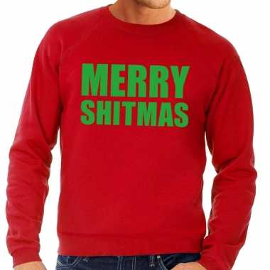 Foute foute kersttrui merry shitmas rood voor heren