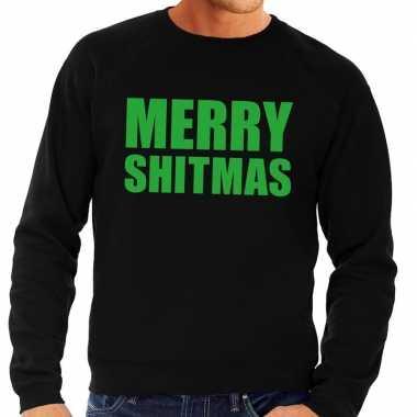 Foute foute kersttrui merry shitmas zwart voor heren