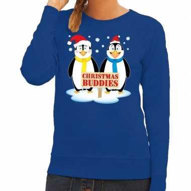 Foute foute kersttrui pinguin vriendjes blauw dames