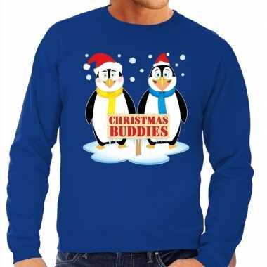 Foute foute kersttrui pinguin vriendjes blauw heren