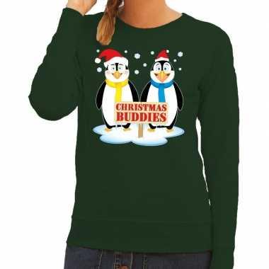 Foute foute kersttrui pinguin vriendjes groen dames