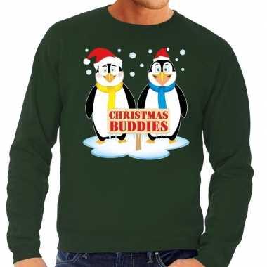 Foute foute kersttrui pinguin vriendjes groen heren