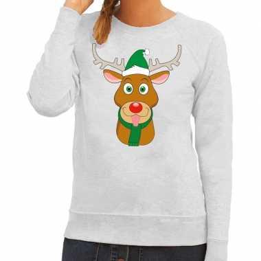Foute foute kersttrui rendier rudolf met groene kerstmuts grijs dames
