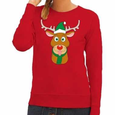 Foute foute kersttrui rendier rudolf met groene kerstmuts rood dames