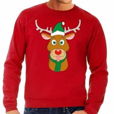 Foute foute kersttrui rendier rudolf met groene kerstmuts rood heren