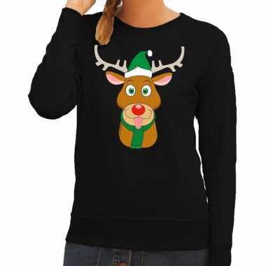 Foute foute kersttrui rendier rudolf met groene kerstmuts zwart dames