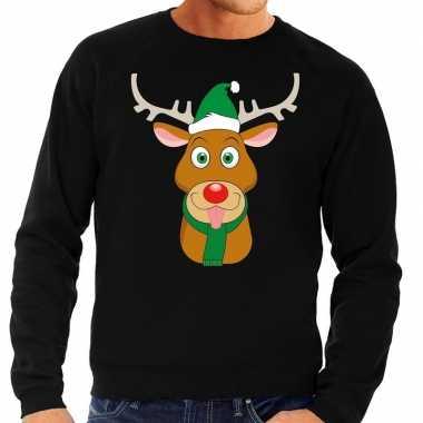 Foute foute kersttrui rendier rudolf met groene kerstmuts zwart heren