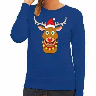 Foute foute kersttrui rendier rudolf met rode kerstmuts blauw dames