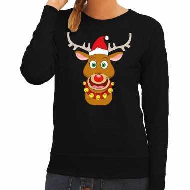 Foute foute kersttrui rendier rudolf met rode kerstmuts zwart dames