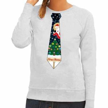 Foute foute kersttrui stropdas met kerst print grijs voor dames