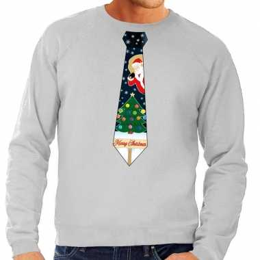 Foute foute kersttrui stropdas met kerst print grijs voor heren