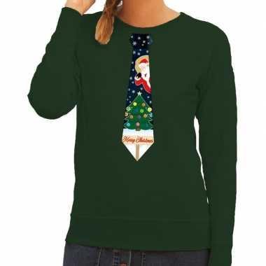 Foute foute kersttrui stropdas met kerst print groen voor dames