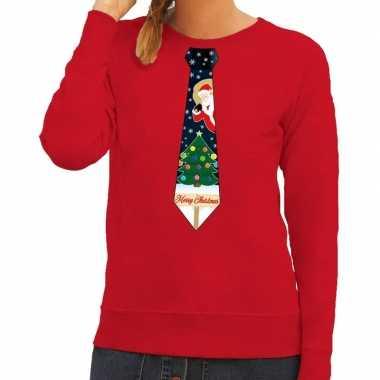 Foute foute kersttrui stropdas met kerst print rood voor dames