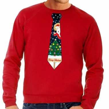 Foute foute kersttrui stropdas met kerst print rood voor heren