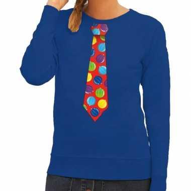 Foute foute kersttrui stropdas met kerstballen print blauw voor dames