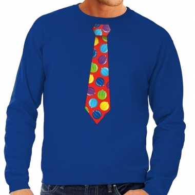 Foute foute kersttrui stropdas met kerstballen print blauw voor heren