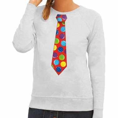 Foute foute kersttrui stropdas met kerstballen print grijs voor dames