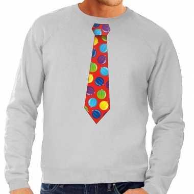 Foute foute kersttrui stropdas met kerstballen print grijs voor heren