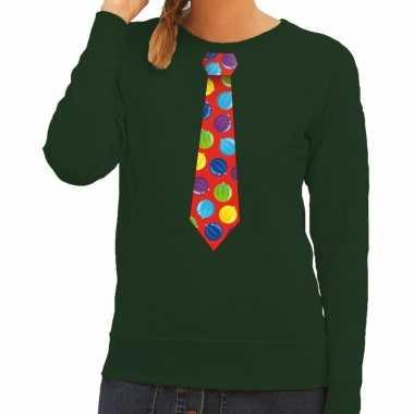 Foute foute kersttrui stropdas met kerstballen print groen voor dames