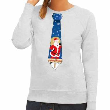 Foute foute kersttrui stropdas met kerstman print grijs voor dames