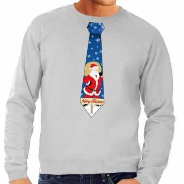 Foute foute kersttrui stropdas met kerstman print grijs voor heren