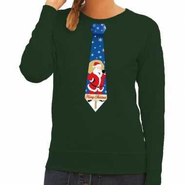 Foute foute kersttrui stropdas met kerstman print groen voor dames