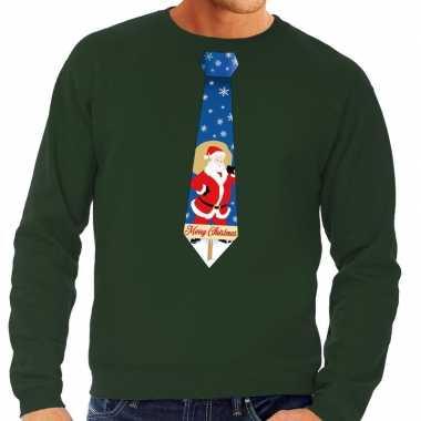 Foute foute kersttrui stropdas met kerstman print groen voor heren