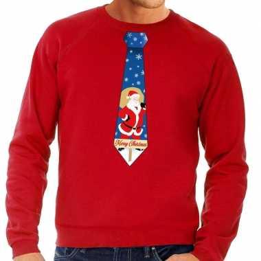 Foute foute kersttrui stropdas met kerstman print rood voor heren