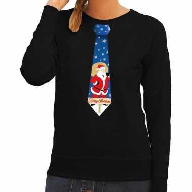 Foute foute kersttrui stropdas met kerstman print zwart voor dames