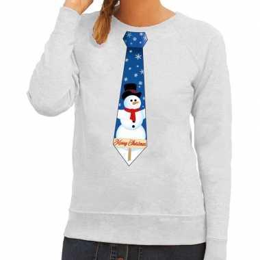 Foute foute kersttrui stropdas met sneeuwpop print grijs voor dames