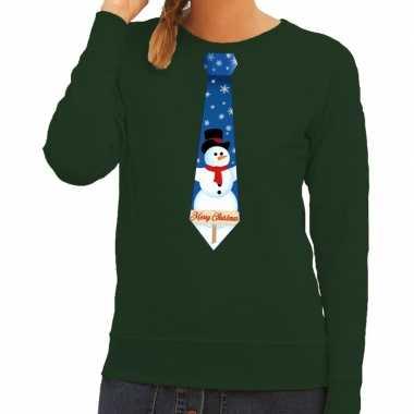 Foute foute kersttrui stropdas met sneeuwpop print groen voor dames