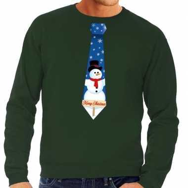 Foute foute kersttrui stropdas met sneeuwpop print groen voor heren