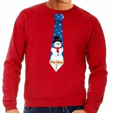 Foute foute kersttrui stropdas met sneeuwpop print rood voor heren