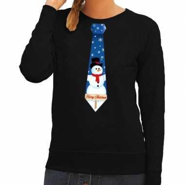 Foute foute kersttrui stropdas met sneeuwpop print zwart voor dames