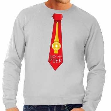 Foute foute kersttrui stropdas suck my piek grijs voor heren