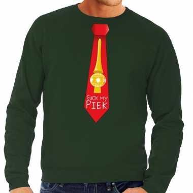 Foute foute kersttrui stropdas suck my piek groen voor heren