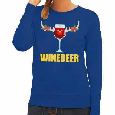 Foute foute kersttrui winedeer blauw voor dames