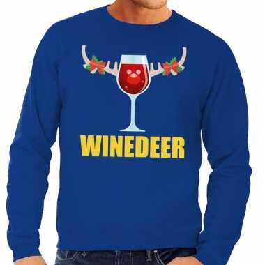 Foute foute kersttrui winedeer blauw voor heren